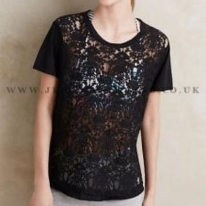 Wilt Black Lace Front Short Sleeve Tee sz Small